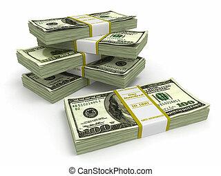 fondo., dollari, bianco, pacchi