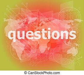 fondo, domande, digitale, educazione, parole, concept: