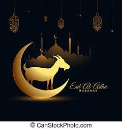 fondo dorado, eid, adha, al, fiesta, bakrid