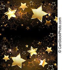 fondo dorado, estrellas