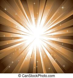 fondo dorado, explosión, resumen, brillante, estrellas