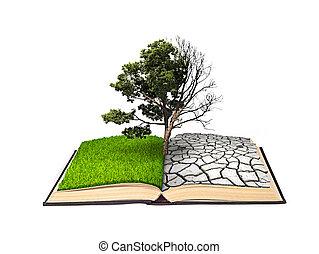 fondo., doubling., árbol, aislado, lado, vida, blanco, otro...