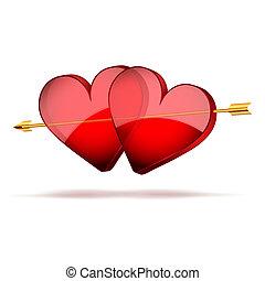 fondo, due cuori, e, arrow., giorno valentines