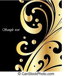 fondo, elegante, vettore, nero, oro
