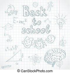 fondo., escuela, espalda