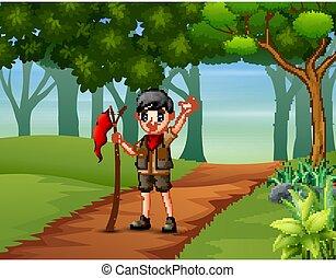 fondo, esploratore, ragazzo, andando gita, foresta