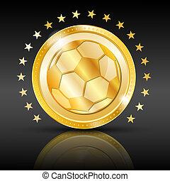 fondo., fútbol, deporte, oro, coin.