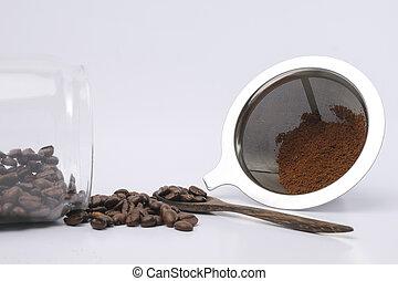 fondo, fagioli, bianco, suolo, caffè