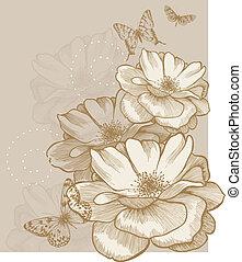 fondo, farfalle, floreale