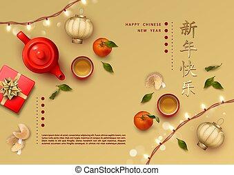 fondo, festivo, anno, nuovo, cinese