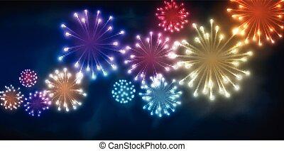 fondo., festivo, colore, firework