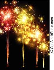 fondo., festivo, colorito, firework