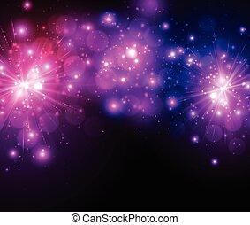 fondo., festivo, lilla, firework