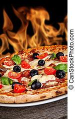fondo, fiamme, legno, delizioso, servito, tavola, pizza, ...
