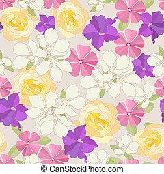 fondo., fiori, seamless, giardino