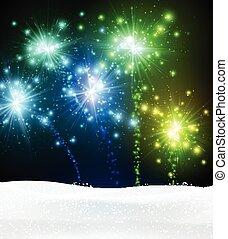 fondo., firework, natale, festivo