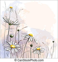 fondo., flor, romántico, margaritas