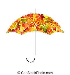 fondo., foglie, ombrello, autunno