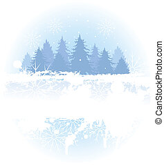 fondo, foresta, inverno