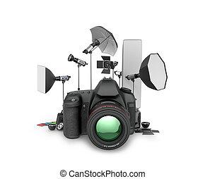 fondo., foto, concept., ilustración, equipo, cámara, estudio...