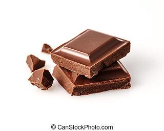 fondo., foto, sopra, cioccolato, rotto, macro, bianco, pezzi, bar.
