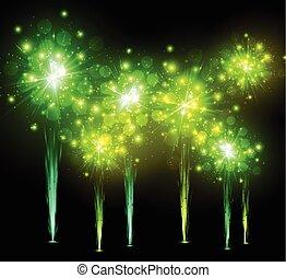 fondo., fuego artificial, verde, festivo