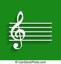 fondo., g-clef., segno., whitish, chiave, carta, verde, vector., violino, musica, uggia, morbido, icona