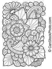 fondo., garabato, resumen, leaves., mano, patrones, flowers., florido, floral, dibujado, flores