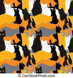 fondo, gatti, seamless
