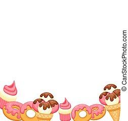 fondo, gelato vaniglia, fragola, cupcake, e, donut, con, rosa, glaze., vettore, illustrazione, eps, 10, per, tuo, design.