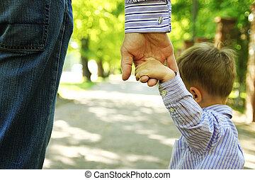 fondo, genitore, bambino, titolo portafoglio mano, felice