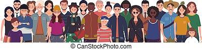 fondo., gente, estante, ilustración, multinacional, aislado...