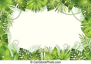 fondo., giungla, foglie, fauna, piante, tropicale, erba, ...