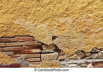 fondo, grecia, stucco, atene, struttura, giallo