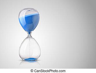 fondo gris, reloj de arena