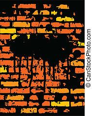 fondo, grunge, brickwall