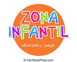 fondo., habitación, niño, zona, bandera, área, vector, signo., zona, niñez, juego, diversión, -, niños, patio de recreo, diseño, infantil