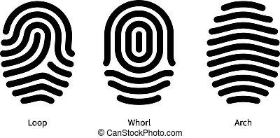 fondo., huella digital, blanco, tipos, identificación
