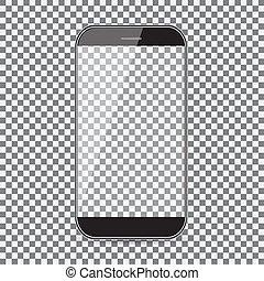 fondo., icon., telefono mobile nero, icona, trasparente