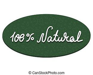 fondo., icona, -, illustrazione, vettore, isolato, substrate, etichetta, iscrizione, bianco, 100, editable, ovale, naturale, percento, floreale, pattern., francobollo, verde, colori