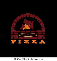 fondo, illustrazione, nero, forno, mattone, pizza