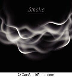 fondo, illustrazione, realistico, vettore, fumo nero