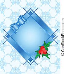 fondo, illustrazione, seamless, bacche, maturo, cornice, vettore, arco, agrifoglio, pianta rossa, fiocchi neve