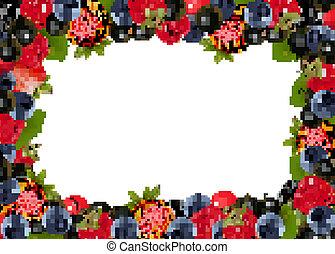 fondo, illustrazione, vettore, cherries., fresco, bacche
