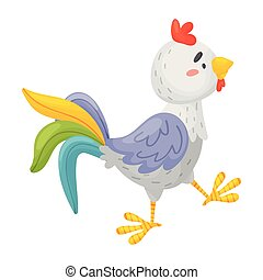 fondo., ilustración, vector, coming., gallo, gris, ...