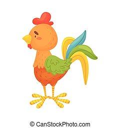fondo., ilustración, vector, gallo, blanco, lado, vista., ...