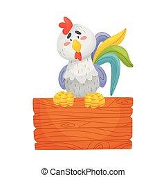 fondo., ilustración, vector, gallo, gris, blanco, de madera...