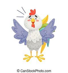 fondo., ilustración, vector, gris, gallo, crowes., blanco