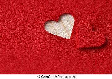 fondo, in, rosso, per, giorno valentine