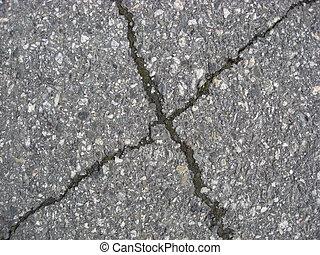 fondo, incrinature, asfalto